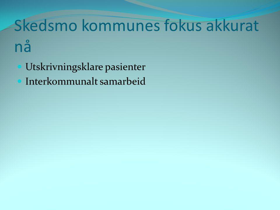 Utskrivningsklare pasienter  Stor utfordring for Skedsmo  Gjennomsnittlig 26 pasienter med 10 overliggedøgn pr måned  Kjøper 23 sykehjemsplasser i andre kommuner  Koster masse penger.