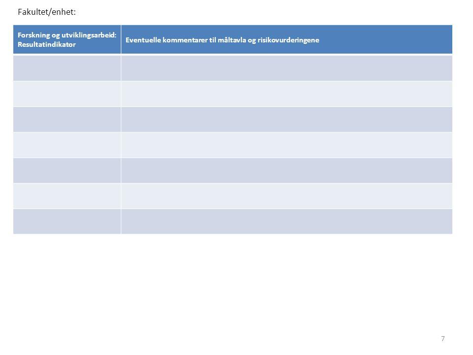 Forskning og utviklingsarbeid: Resultatindikator Eventuelle kommentarer til måltavla og risikovurderingene Fakultet/enhet: 7