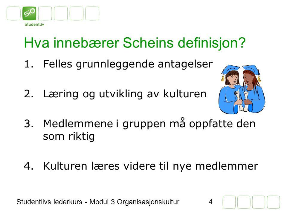 Studentlivs lederkurs - Modul 3 Organisasjonskultur4 Hva innebærer Scheins definisjon.