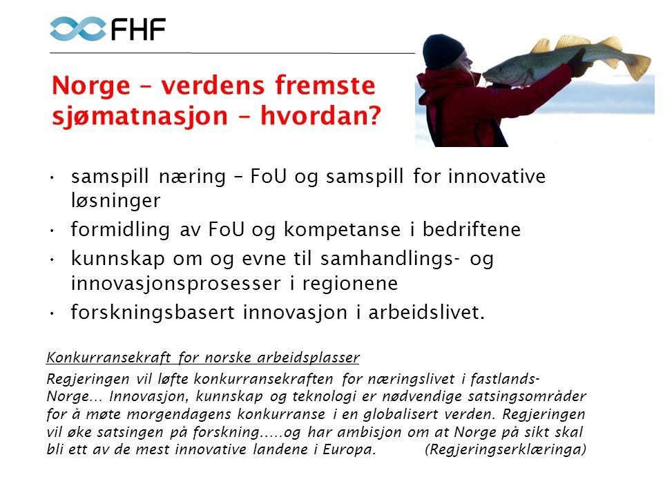 Norge – verdens fremste sjømatnasjon – hvordan? •samspill næring – FoU og samspill for innovative løsninger •formidling av FoU og kompetanse i bedrift