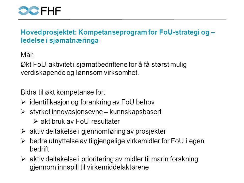 Hovedprosjektet: Kompetanseprogram for FoU-strategi og – ledelse i sjømatnæringa Mål: Økt FoU-aktivitet i sjømatbedriftene for å få størst mulig verdi