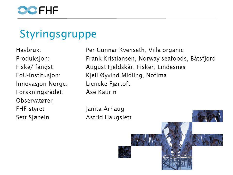 Styringsgruppe Havbruk: Per Gunnar Kvenseth, Villa organic Produksjon:Frank Kristiansen, Norway seafoods, Båtsfjord Fiske/ fangst:August Fjeldskår, Fi