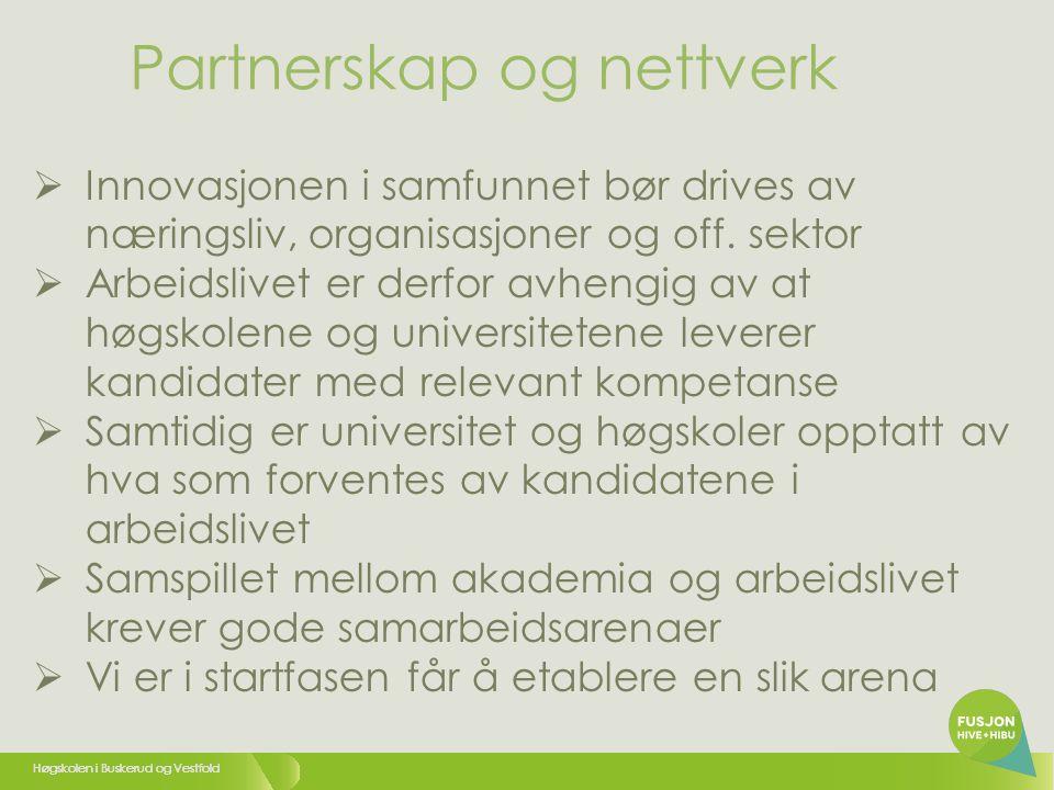 Høgskolen i Buskerud og Vestfold  Innovasjonen i samfunnet bør drives av næringsliv, organisasjoner og off.