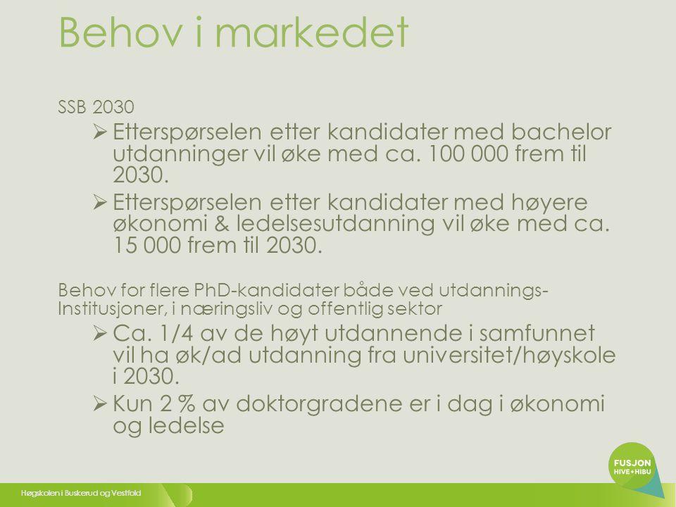 Høgskolen i Buskerud og Vestfold Behov i markedet SSB 2030  Etterspørselen etter kandidater med bachelor utdanninger vil øke med ca.