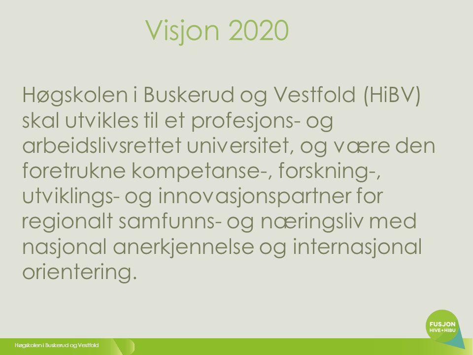Høgskolen i Buskerud og Vestfold Høgskolen i Buskerud og Vestfold (HiBV) skal utvikles til et profesjons- og arbeidslivsrettet universitet, og være den foretrukne kompetanse-, forskning-, utviklings- og innovasjonspartner for regionalt samfunns- og næringsliv med nasjonal anerkjennelse og internasjonal orientering.