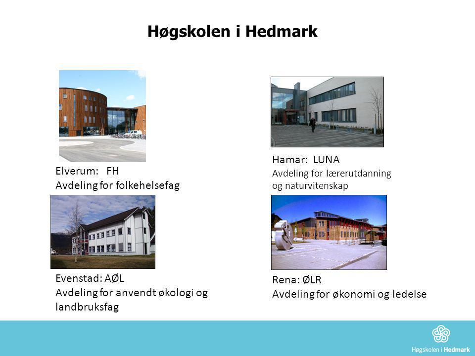 Høgskolen i Hedmark Elverum: FH Avdeling for folkehelsefag Hamar: LUNA Avdeling for lærerutdanning og naturvitenskap Evenstad: AØL Avdeling for anvend