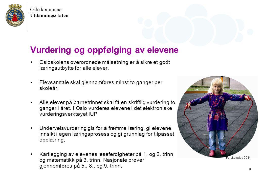 Oslo kommune Utdanningsetaten Vurdering og oppfølging av elevene •Osloskolens overordnede målsetning er å sikre et godt læringsutbytte for alle elever