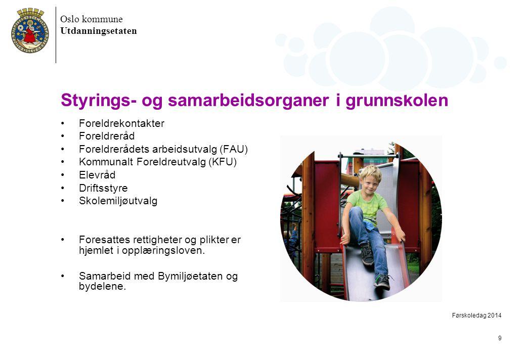 Oslo kommune Utdanningsetaten Styrings- og samarbeidsorganer i grunnskolen •Foreldrekontakter •Foreldreråd •Foreldrerådets arbeidsutvalg (FAU) •Kommun