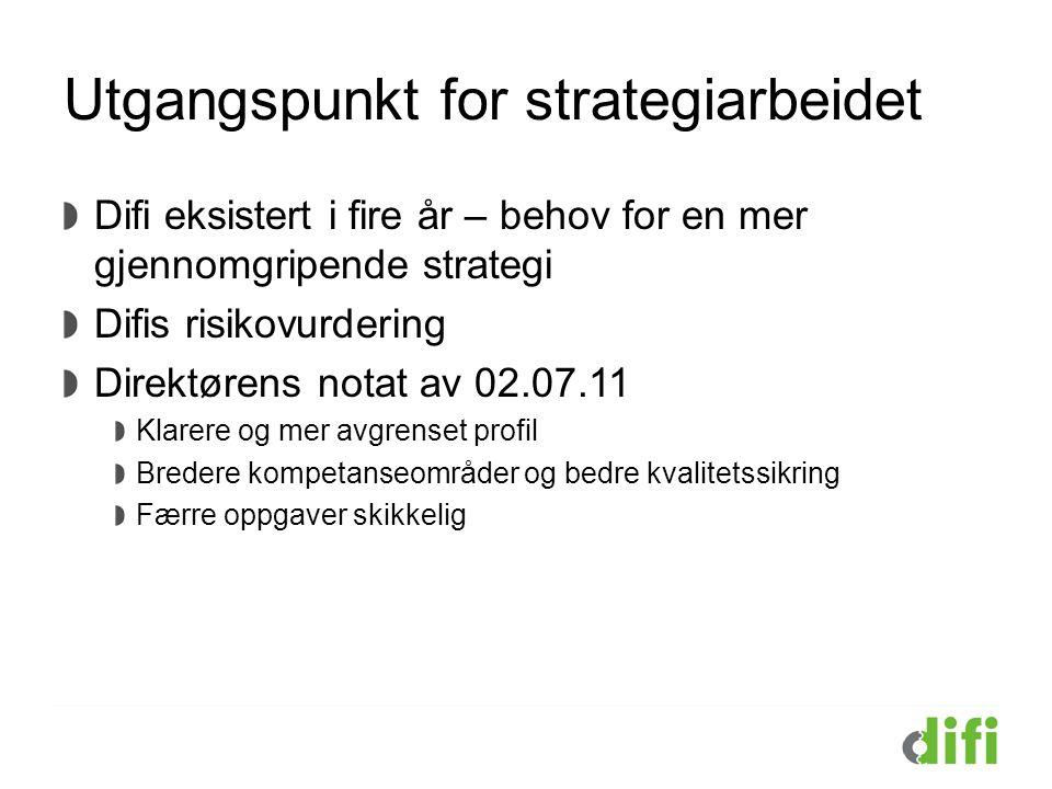 Utgangspunkt for strategiarbeidet Difi eksistert i fire år – behov for en mer gjennomgripende strategi Difis risikovurdering Direktørens notat av 02.0