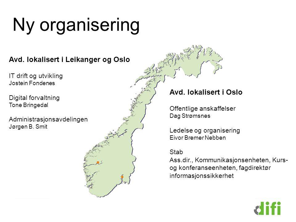 Avd. lokalisert i Leikanger og Oslo IT drift og utvikling Jostein Fondenes Digital forvaltning Tone Bringedal Administrasjonsavdelingen Jørgen B. Smit