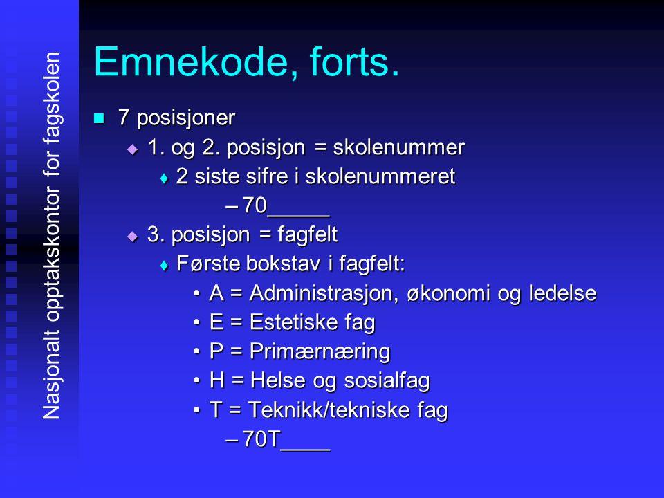 Emnekode, forts. 7777 posisjoner 1111. og 2.