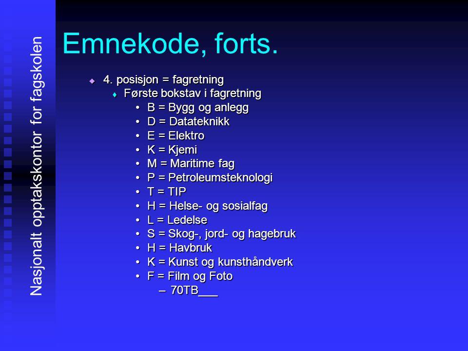 Emnekode, forts. 4444. posisjon = fagretning FFFFørste bokstav i fagretning •B•B•B•B = Bygg og anlegg •D•D•D•D = Datateknikk •E•E•E•E = Elektr