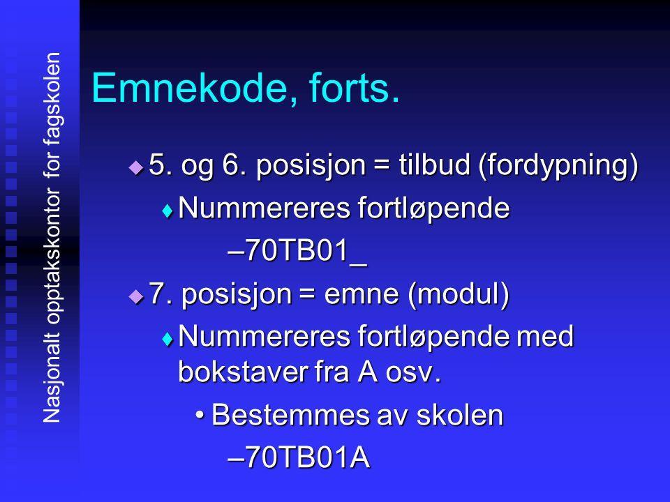 Emnekode, forts. 5555. og 6. posisjon = tilbud (fordypning) NNNNummereres fortløpende –7–7–7–70TB01_ 7777. posisjon = emne (modul) NNN