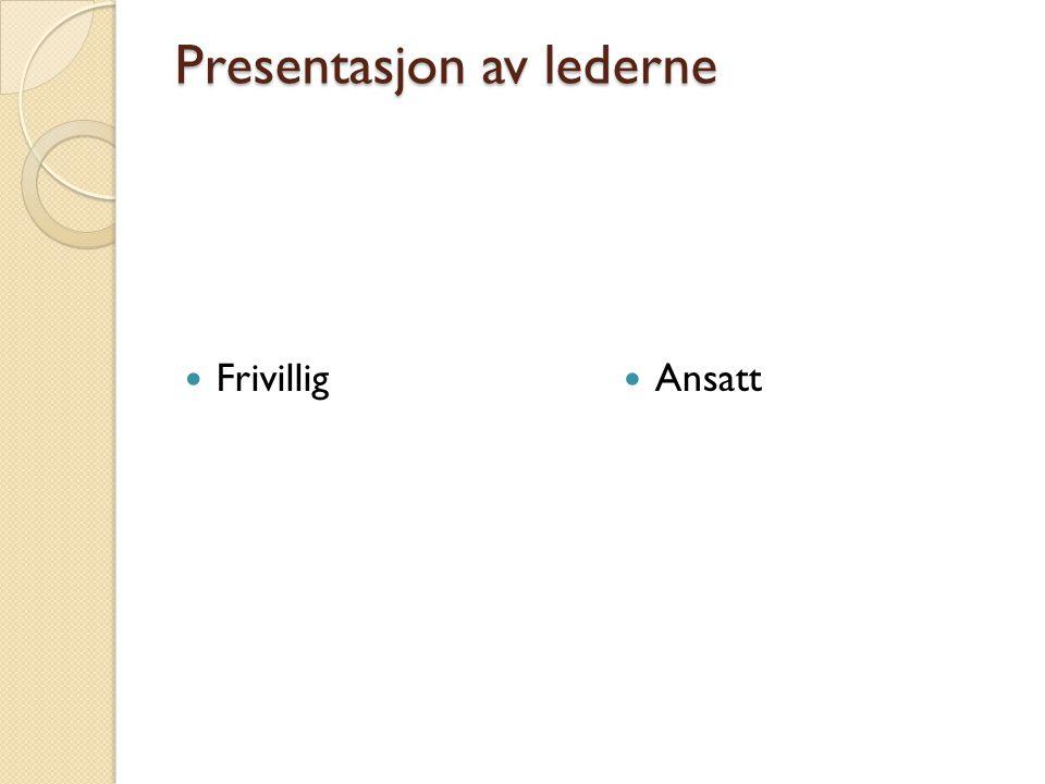 Presentasjon av lederne  Frivillig  Ansatt