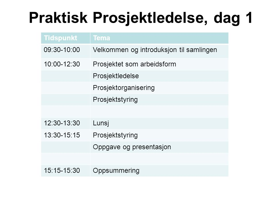 TidspunktTema 09:00-12:30Prosjektstrategier og målprosesser Interessentanalyser Prosjektgjennomføring 12:30-13:30Lunsj 13:30-15:15Porteføljeledelse av prosjekter Oppgave og presentasjon 15:15-15:30Oppsummering Praktisk Prosjektledelse, dag 2