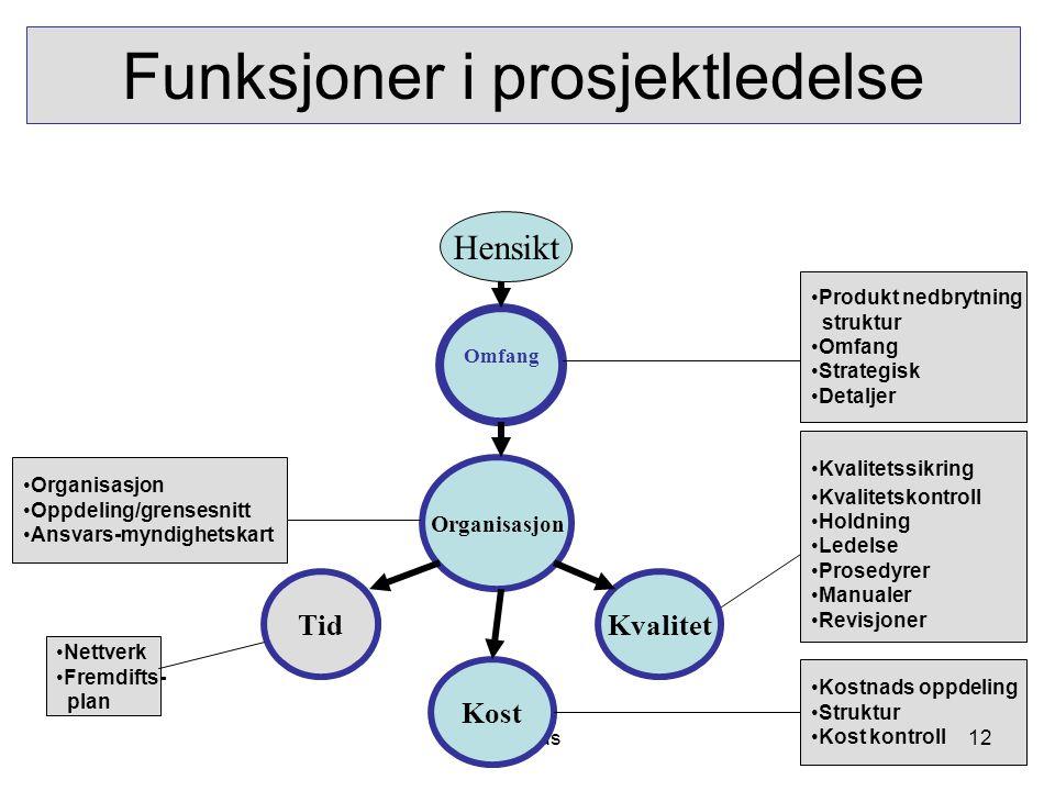 KPL as Funksjoner i prosjektledelse Hensikt Omfang Organisasjon TidKvalitet Kost •Produkt nedbrytning struktur •Omfang •Strategisk •Detaljer •Kvalitet
