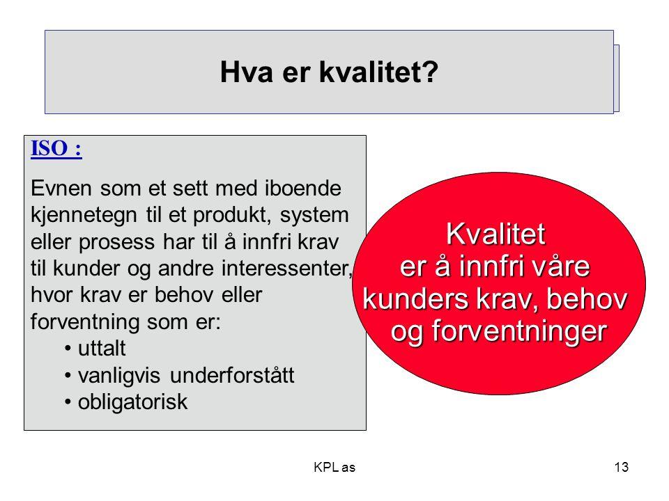KPL as13 ISO : Evnen som et sett med iboende kjennetegn til et produkt, system eller prosess har til å innfri krav til kunder og andre interessenter,