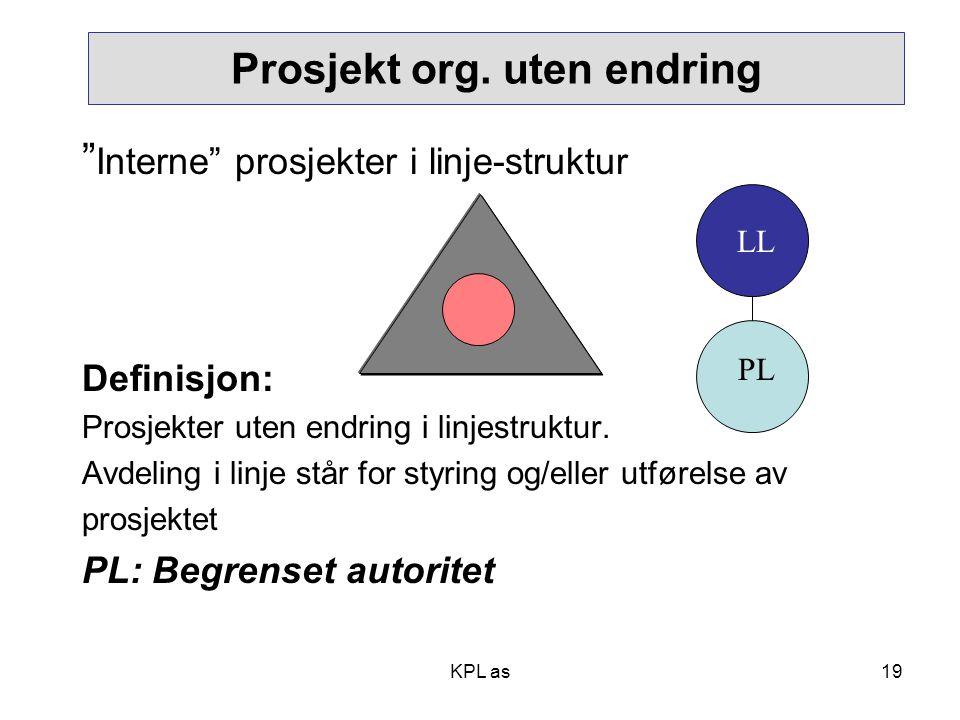 """Prosjekt org. uten endring """" Interne"""" prosjekter i linje-struktur Definisjon: Prosjekter uten endring i linjestruktur. Avdeling i linje står for styri"""