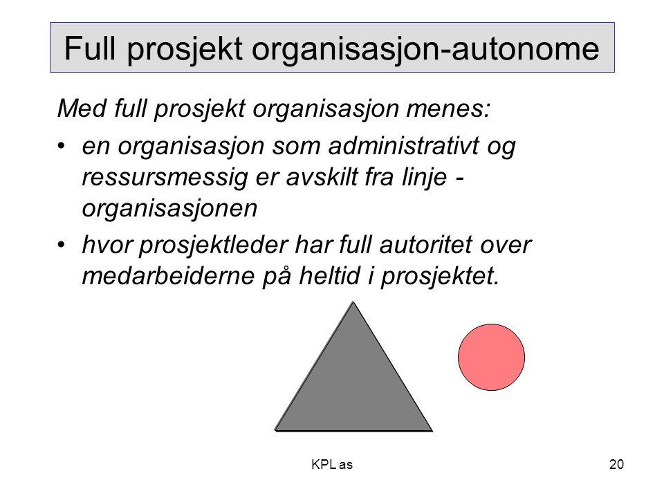 Full prosjekt organisasjon-autonome Med full prosjekt organisasjon menes: •en organisasjon som administrativt og ressursmessig er avskilt fra linje -
