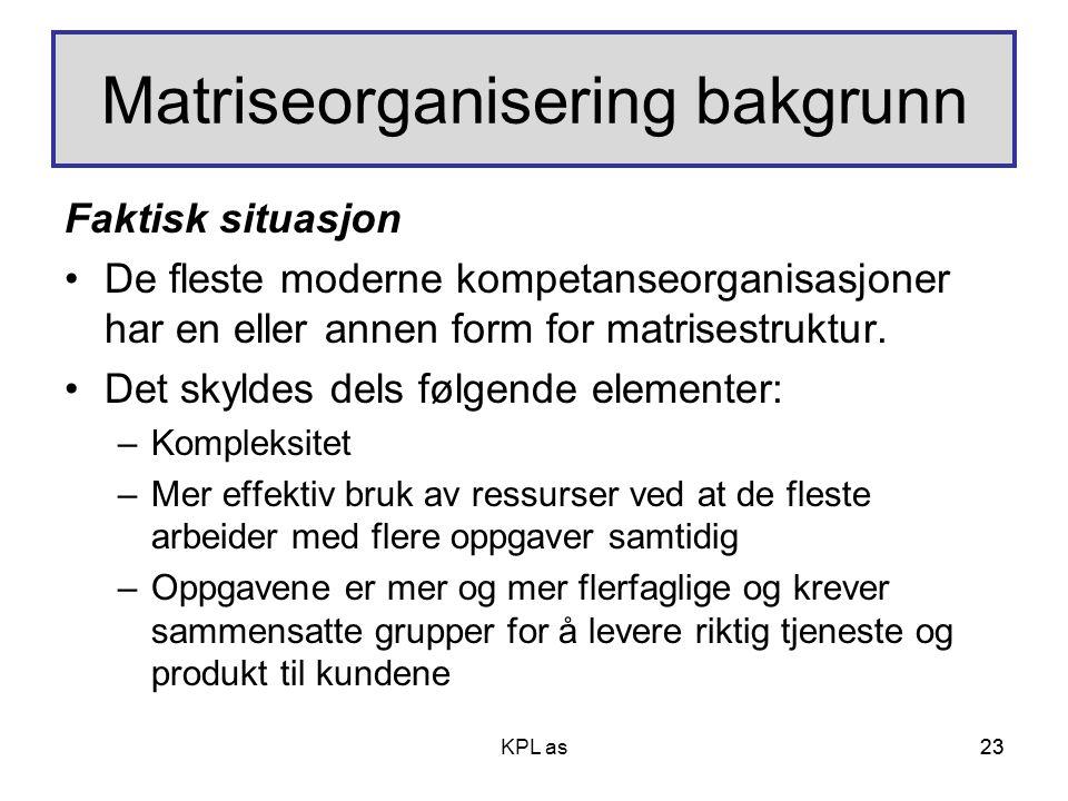 23 Matriseorganisering bakgrunn Faktisk situasjon •De fleste moderne kompetanseorganisasjoner har en eller annen form for matrisestruktur. •Det skylde