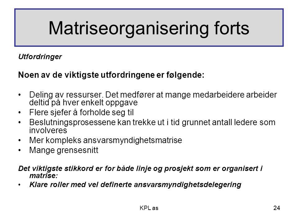 24 Matriseorganisering forts Utfordringer Noen av de viktigste utfordringene er følgende: •Deling av ressurser. Det medfører at mange medarbeidere arb