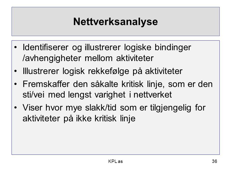 Nettverksanalyse •Identifiserer og illustrerer logiske bindinger /avhengigheter mellom aktiviteter •Illustrerer logisk rekkefølge på aktiviteter •Frem
