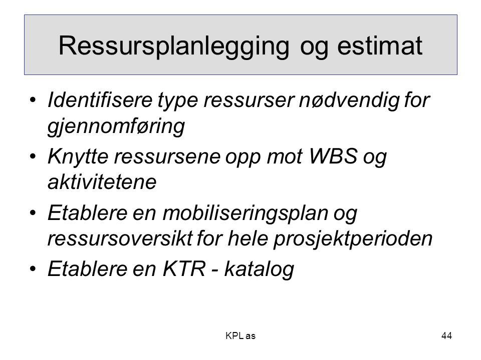 KPL as Ressursplanlegging og estimat •Identifisere type ressurser nødvendig for gjennomføring •Knytte ressursene opp mot WBS og aktivitetene •Etablere