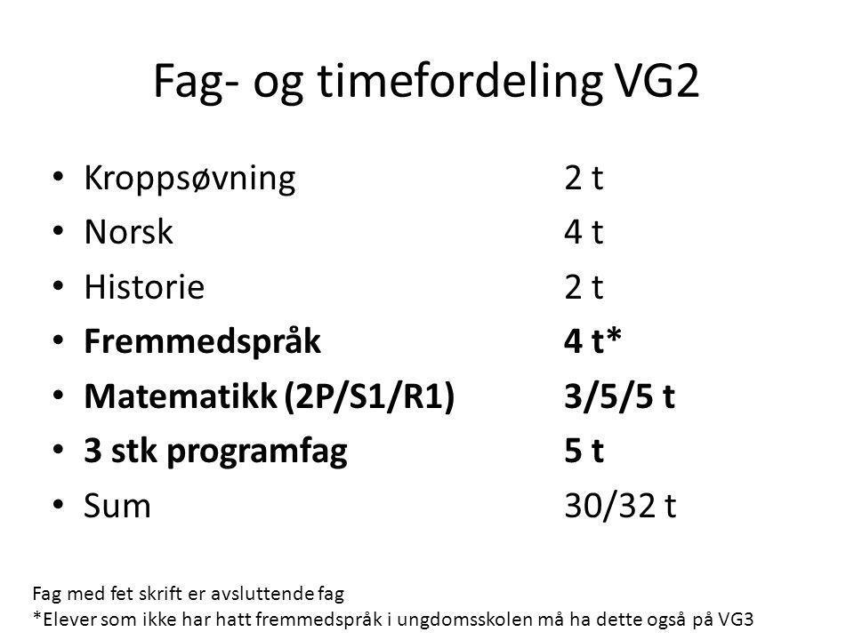 Fag- og timefordeling VG2 • Kroppsøvning 2 t • Norsk4 t • Historie2 t • Fremmedspråk4 t* • Matematikk (2P/S1/R1)3/5/5 t • 3 stk programfag 5 t • Sum30