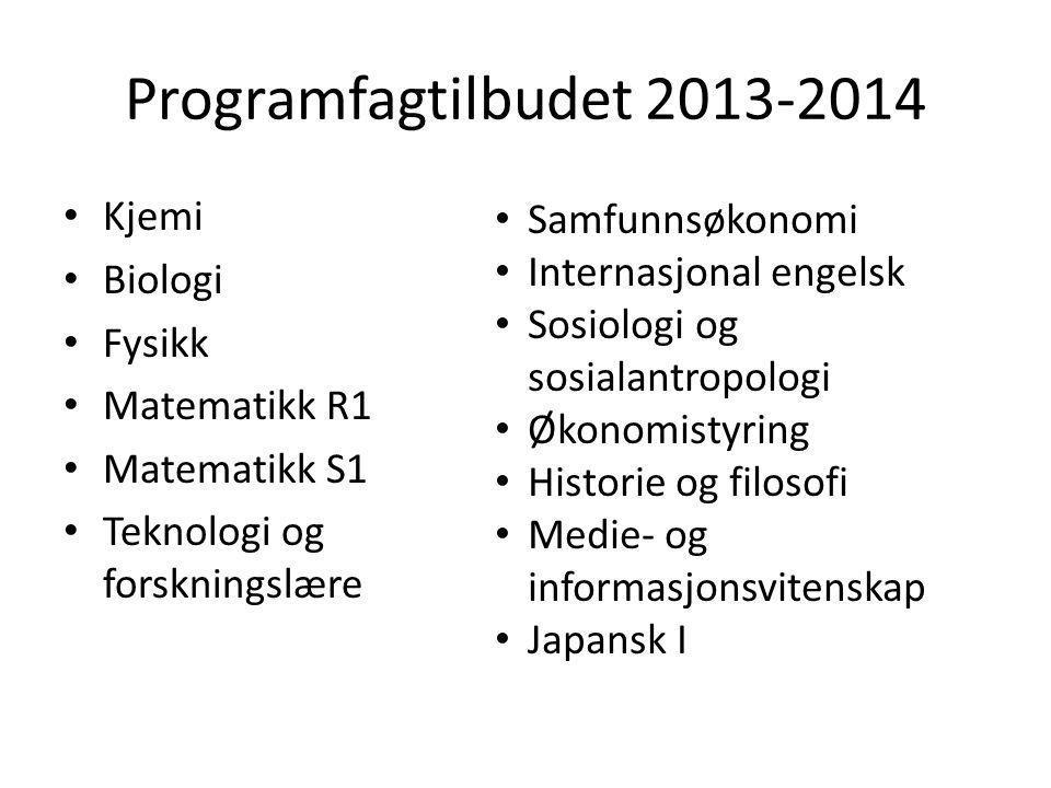 Programfagtilbudet 2013-2014 • Kjemi • Biologi • Fysikk • Matematikk R1 • Matematikk S1 • Teknologi og forskningslære • Samfunnsøkonomi • Internasjona
