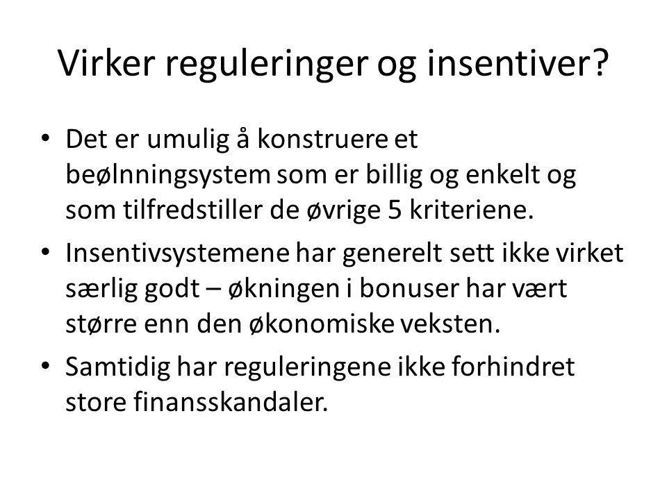 Virker reguleringer og insentiver? • Det er umulig å konstruere et beølnningsystem som er billig og enkelt og som tilfredstiller de øvrige 5 kriterien