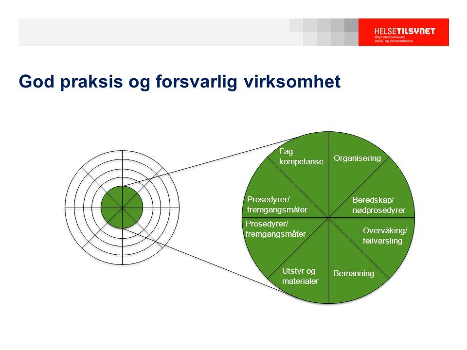 God praksis og forsvarlig virksomhet Fag kompetanse Organisering Beredskap/ nødprosedyrer Overvåking/ feilvarsling Bemanning Utstyr og materialer Pros