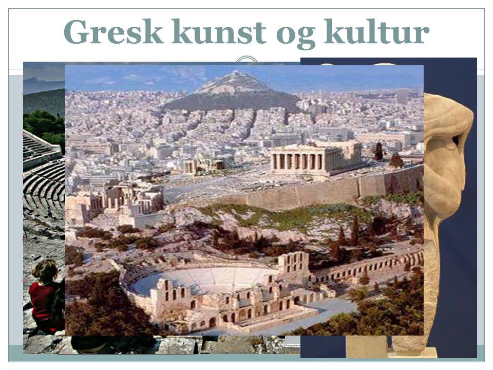 Gresk kunst og kultur  Det greske alfabetet som var en tilpasning av det fønikiske bestod kun av 20 tegn og spredde seg raskt  Grekerne skrev dikt o