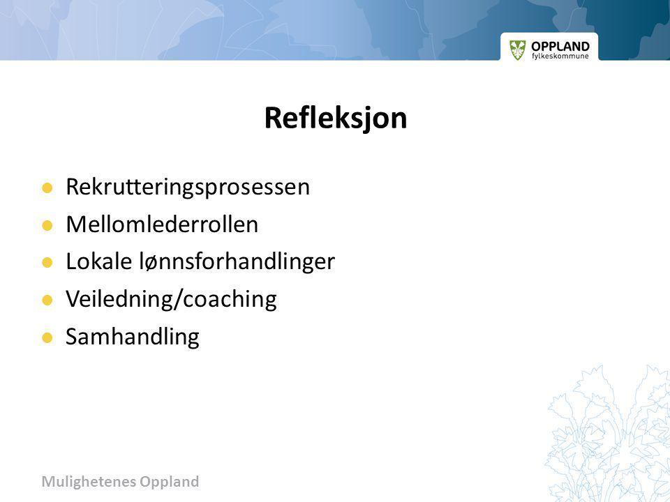 Mulighetenes Oppland Refleksjon  Rekrutteringsprosessen  Mellomlederrollen  Lokale lønnsforhandlinger  Veiledning/coaching  Samhandling