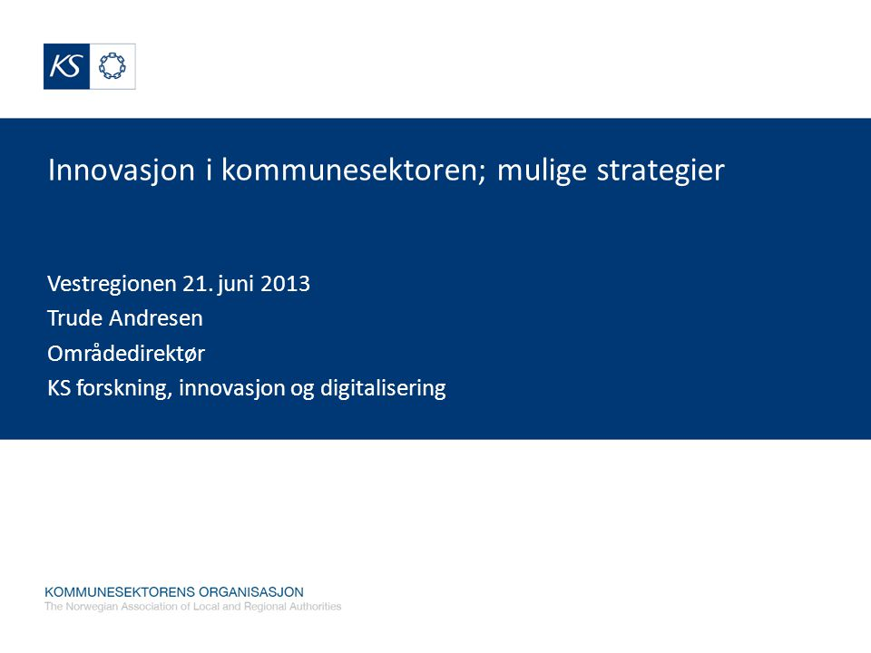 Innovasjon i kommunesektoren; mulige strategier Vestregionen 21.