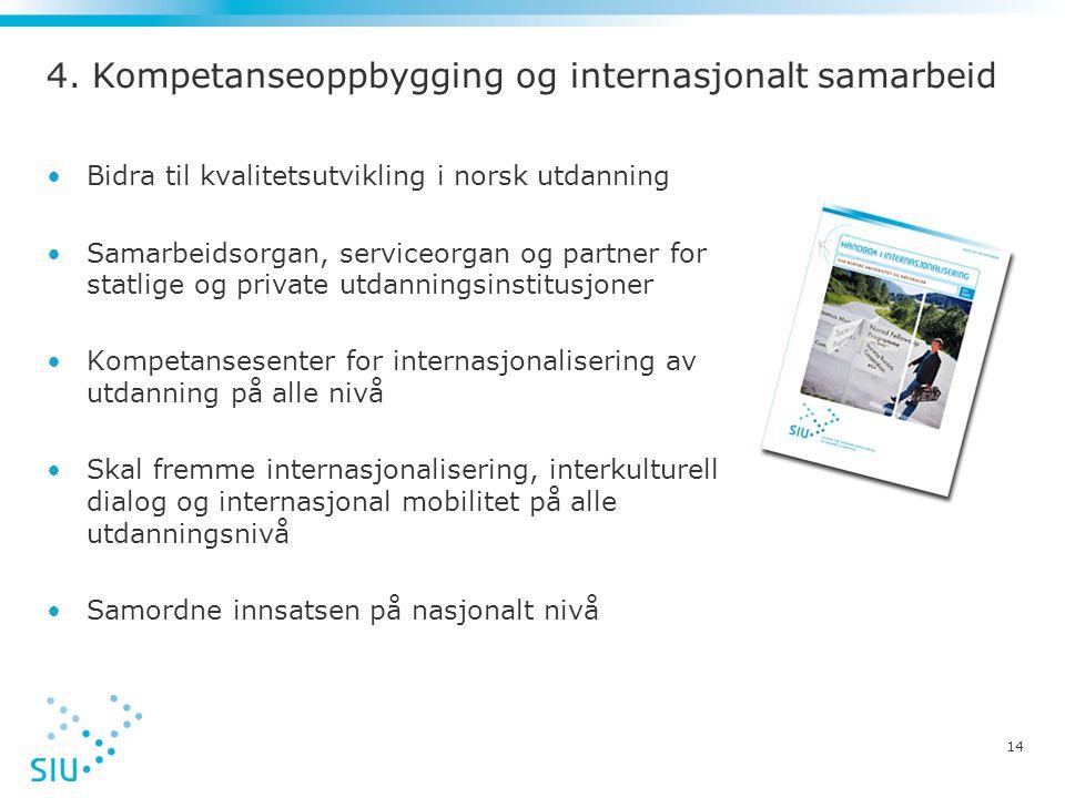 14 4. Kompetanseoppbygging og internasjonalt samarbeid •Bidra til kvalitetsutvikling i norsk utdanning •Samarbeidsorgan, serviceorgan og partner for s