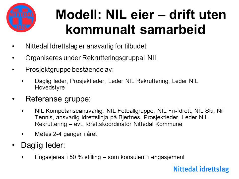 Modell: NIL eier – drift uten kommunalt samarbeid •Nittedal Idrettslag er ansvarlig for tilbudet •Organiseres under Rekrutteringsgruppa i NIL •Prosjek