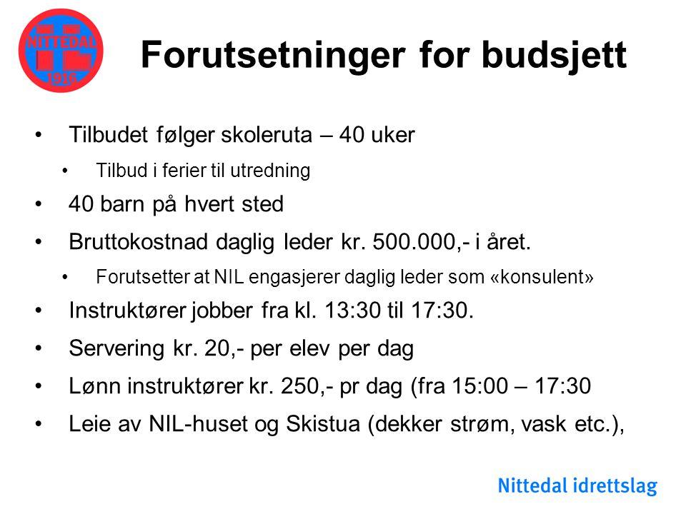 Forutsetninger for budsjett •Tilbudet følger skoleruta – 40 uker •Tilbud i ferier til utredning •40 barn på hvert sted •Bruttokostnad daglig leder kr.