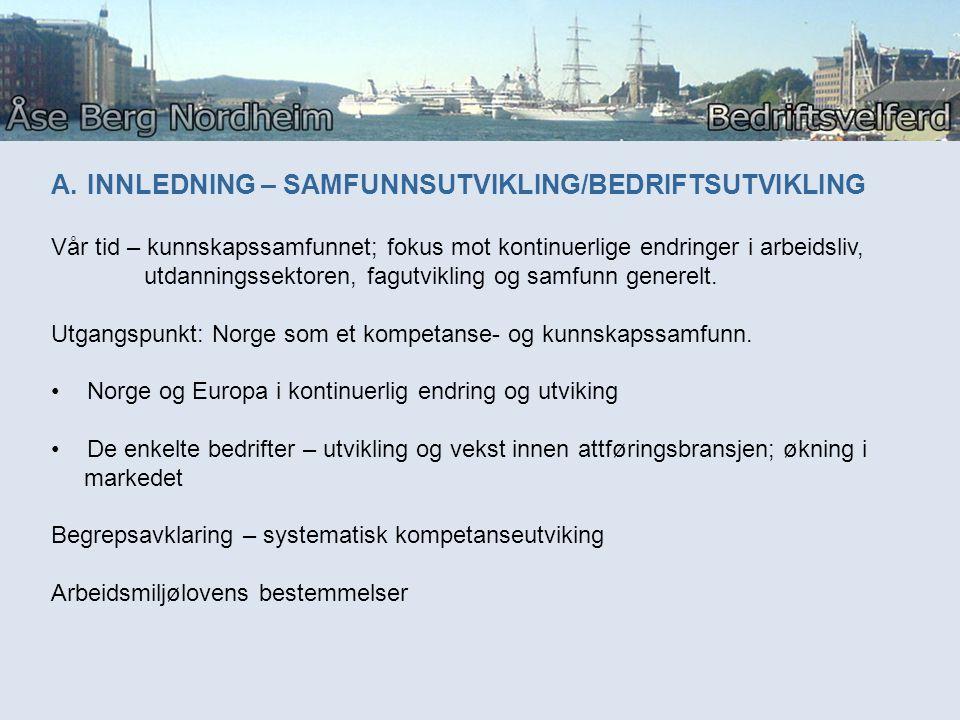 A.INNLEDNING – SAMFUNNSUTVIKLING/BEDRIFTSUTVIKLING Vår tid – kunnskapssamfunnet; fokus mot kontinuerlige endringer i arbeidsliv, utdanningssektoren, f