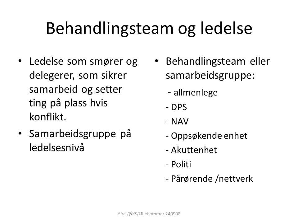 AAa /ØKS/Lillehammer 240908 Behandlingsteam og ledelse • Ledelse som smører og delegerer, som sikrer samarbeid og setter ting på plass hvis konflikt.
