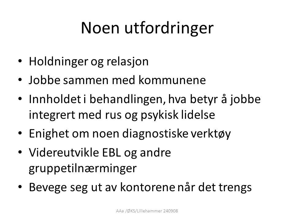 AAa /ØKS/Lillehammer 240908 Noen utfordringer • Holdninger og relasjon • Jobbe sammen med kommunene • Innholdet i behandlingen, hva betyr å jobbe inte
