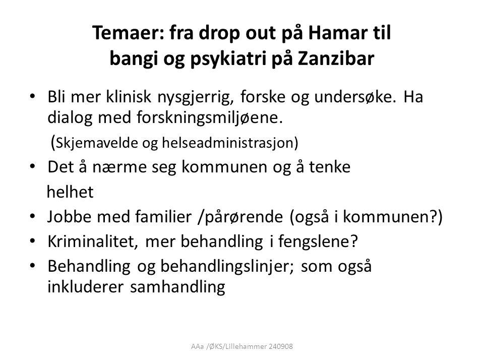 AAa /ØKS/Lillehammer 240908 Temaer: fra drop out på Hamar til bangi og psykiatri på Zanzibar • Bli mer klinisk nysgjerrig, forske og undersøke.
