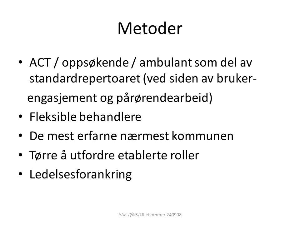AAa /ØKS/Lillehammer 240908 Metoder • ACT / oppsøkende / ambulant som del av standardrepertoaret (ved siden av bruker- engasjement og pårørendearbeid)