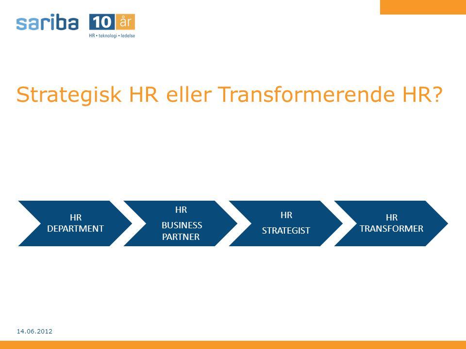 En strategisk arbeidende HR-funksjon • Ser seg selv som både en endringsagent og en profesjonell leverandør • Arbeider strategisk med strategiske tema, disponerer taktisk og operasjonaliserer for leveranse • Tar utgangspunkt i forretningen, de kommersielle mål, lønnsomheten og hva som skal til for å lykkes 14.06.2012