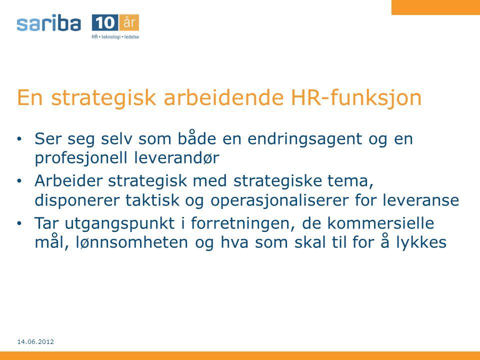 En strategisk arbeidende HR-funksjon – Bedriftens mål: HR's ansvar – Posisjoneringen: HR's rolle i bedriften – Samhandlingen: HR's leveransemodell – Aktørene: HR-ledernes personlig evne og vilje – Agendaen: HR's grep om strategiske, taktiske og operative oppgaver 14.06.2012