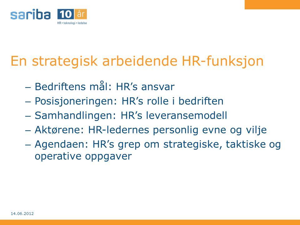 En strategisk arbeidende HR-funksjon – Bedriftens mål: HR's ansvar – Posisjoneringen: HR's rolle i bedriften – Samhandlingen: HR's leveransemodell – A