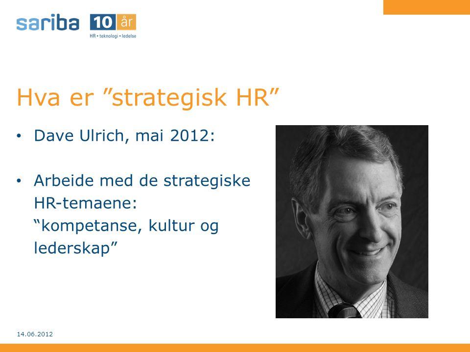 """Hva er """"strategisk HR"""" • Dave Ulrich, mai 2012: • Arbeide med de strategiske HR-temaene: """"kompetanse, kultur og lederskap"""" 14.06.2012"""