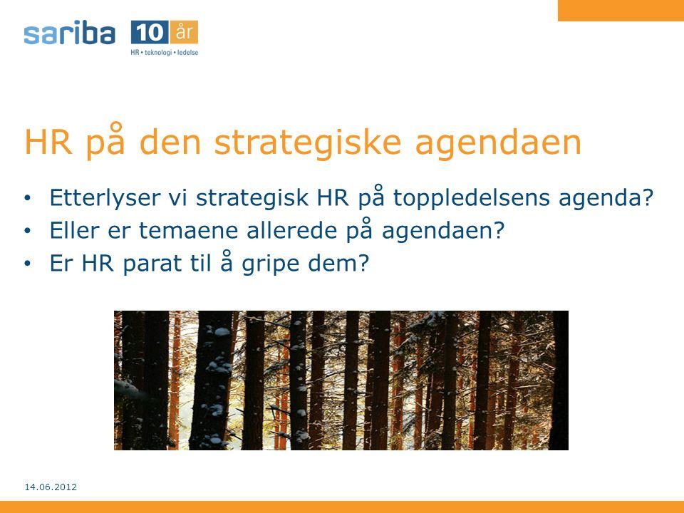 HR på den strategiske agendaen • Etterlyser vi strategisk HR på toppledelsens agenda? • Eller er temaene allerede på agendaen? • Er HR parat til å gri