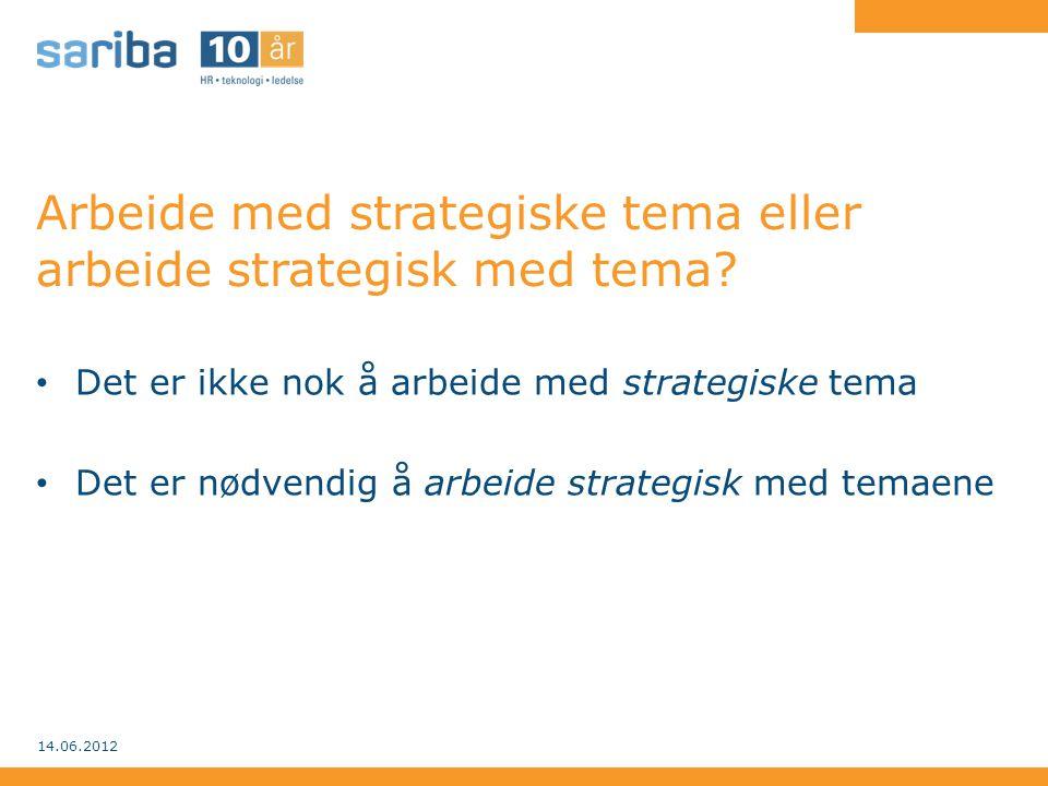 Arbeide med strategiske tema eller arbeide strategisk med tema? • Det er ikke nok å arbeide med strategiske tema • Det er nødvendig å arbeide strategi