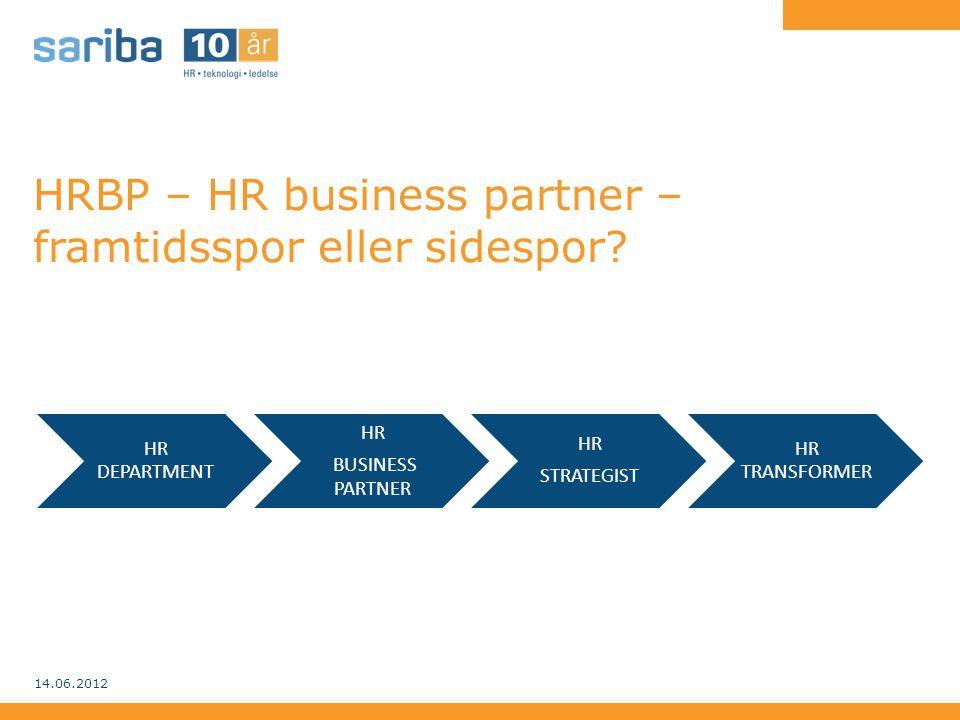 HRBP – HR business partner – framtidsspor eller sidespor? 14.06.2012 HR DEPARTMENT HR BUSINESS PARTNER HR STRATEGIST HR TRANSFORMER