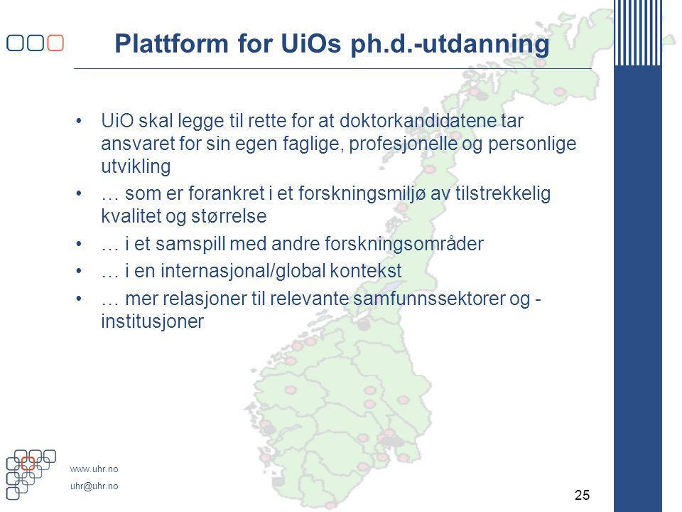 www.uhr.no uhr@uhr.no Plattform for UiOs ph.d.-utdanning •UiO skal legge til rette for at doktorkandidatene tar ansvaret for sin egen faglige, profesjonelle og personlige utvikling •… som er forankret i et forskningsmiljø av tilstrekkelig kvalitet og størrelse •… i et samspill med andre forskningsområder •… i en internasjonal/global kontekst •… mer relasjoner til relevante samfunnssektorer og - institusjoner 25